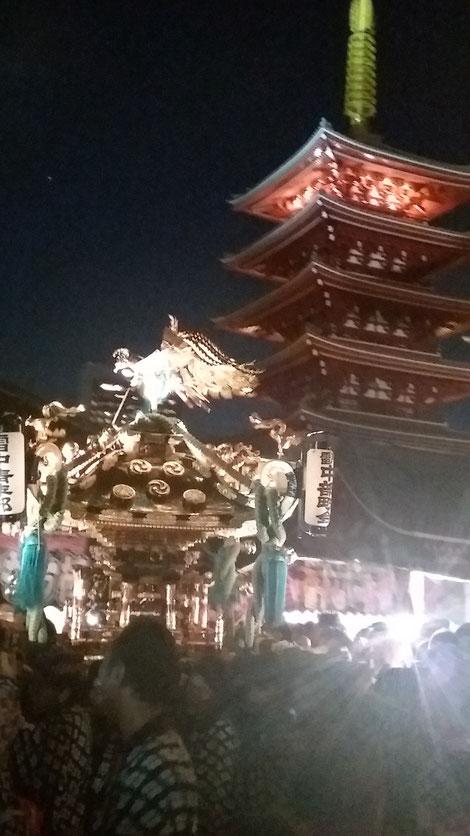 三社祭 五重塔とお神輿です 浜松町 マッサージ ほぐし