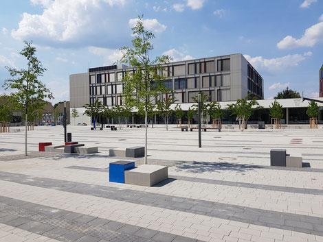 Schulhof des Neubau Schulstandort Dresden-Tolkewitz