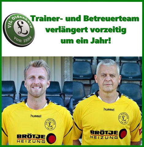 Vertrag mit Trainer- und Betreuerstab vorzeitig verlängert: VfL Oldenburg