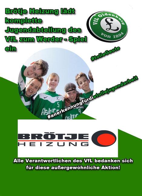 Diese Aktion soll laut Brötje Heizung eine Anerkennung für die hervorragende Jugendarbeit des VfL sein.