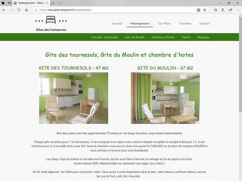 copie d'écran d'une page du site internet des Gites des Camparros à Nailloux