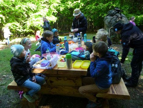 Test bestanden beim Tag des Wanderns: Die Mäuseklasse der Grundschule Blasheim nimmt Platz auf der neuen Picknickbank.