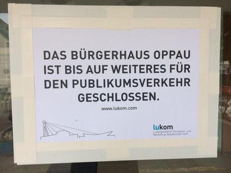 Auch das Bürgerhaus Oppau bleibt bis auf weiteres geschlossen. So stünden die MBO-Musiker ohnehin vor verschlossener Tür (Bildrechte: MBO)