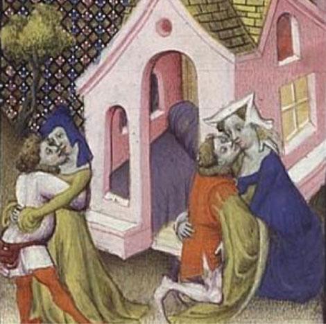 Racolage sur la voie publique au Moyen-Âge. Enluminure