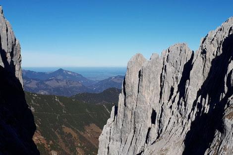 Kopftörlgrat mit Bergführer, eindrucksvolle Gratkletterei Kopftörlgrat auf die Ellmauer Halt mit Bergführer