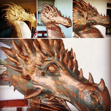 papermache, Pappmache, kunst, Drachenskulptur, Drachenkopf, Drache aus Bronze,