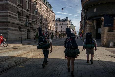 Pfadfinder Aachen, Sommerfahrt Schweden, Norrköping, Rucksäcke, Gitarren