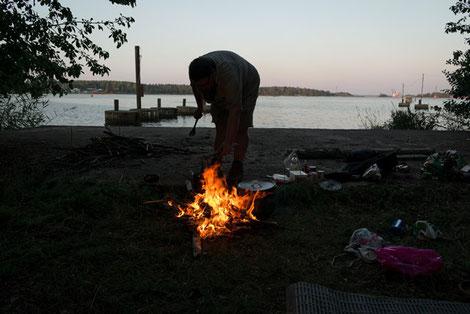 Lagerfeuer am Meer, Pfadfinder Norrköping