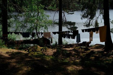 Wäscheleine am See