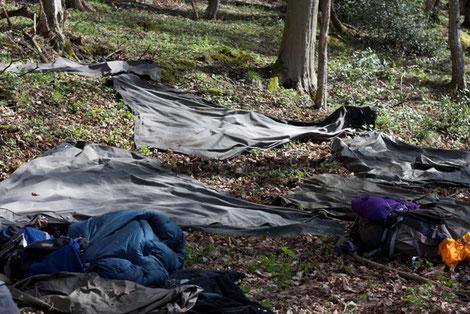 Kohte ausgelegt auf Waldboden Pfadfinder Aachen