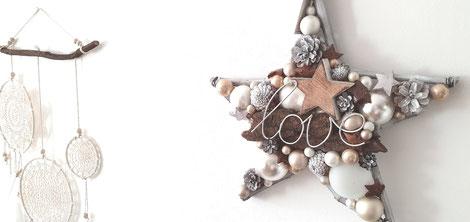 Weiß - brauner Stern im Boho-Style mit Love - Schriftzug mit weißem Bohemian-Traumfänger zusammen dekoriert.