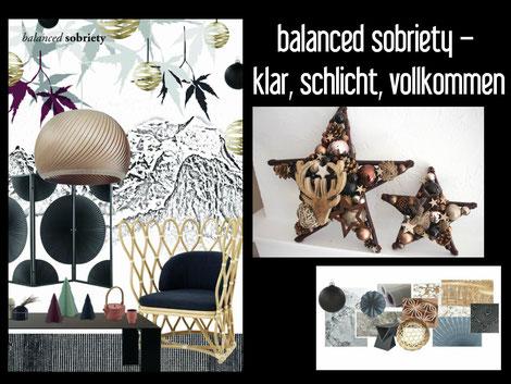 dekotrend, weihnachtsdeko, braun, schwarz, natur, Blogbeitrag über Einrichtungstrends, Moodboard, Dekotrends, Sterne,