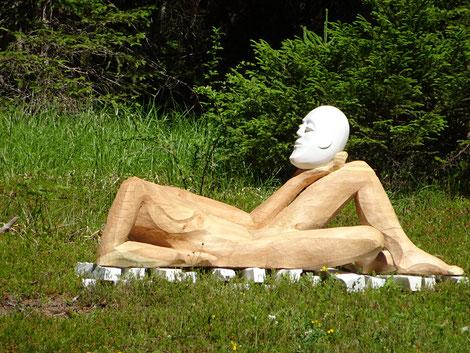 Kunst Holz/Steinskultpur von David Rohrbach, Bildhauer Symposium 2017 Sur En