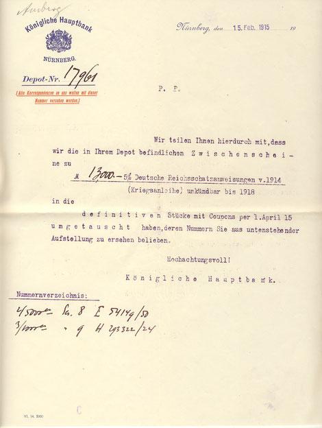 1915 Bestätigung der Kriegsanleihe