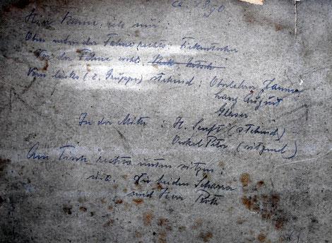 Rückseite des Fotos; Schreiber unbekannt.