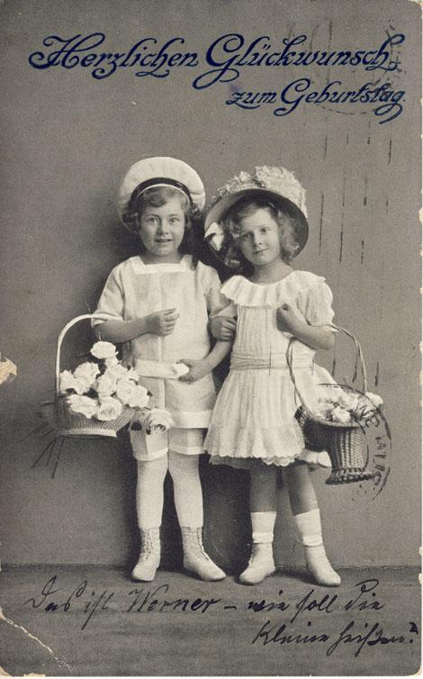 Geburtstagskarte 9.5. an Elsa von Onkel Gustav