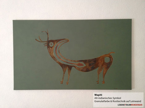 Wapiti - #rost #farbe #leinwand #gestaltung #indianer #hirsch #zeichnung #gemälde #wanddeko #wunderbar #zürich