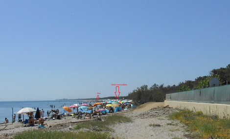 Free beach at Lido di Dante - naturist area between the two red arrows