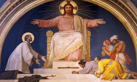 Le Christ, St François-Xavier et les peuples d'Asie à évangéliser (église St François-Xavier des Missions Étrangères, Paris)