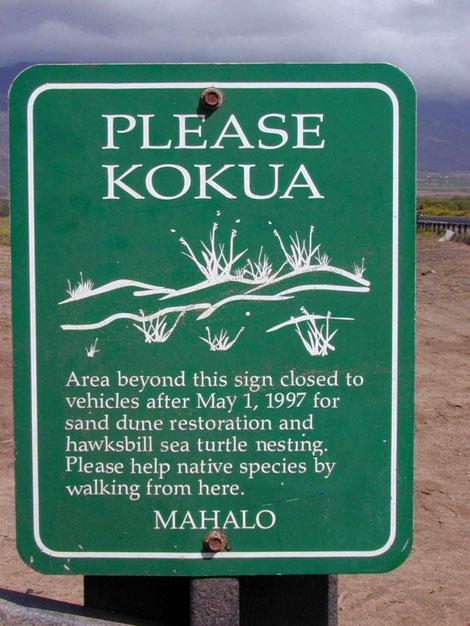 Schild auf Hawaii