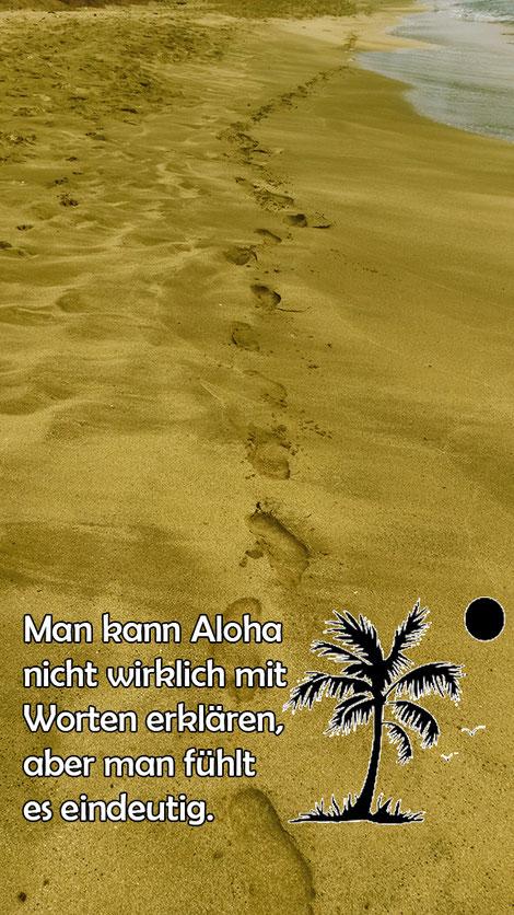 Fussabdrücke im Strand auf Hawaii