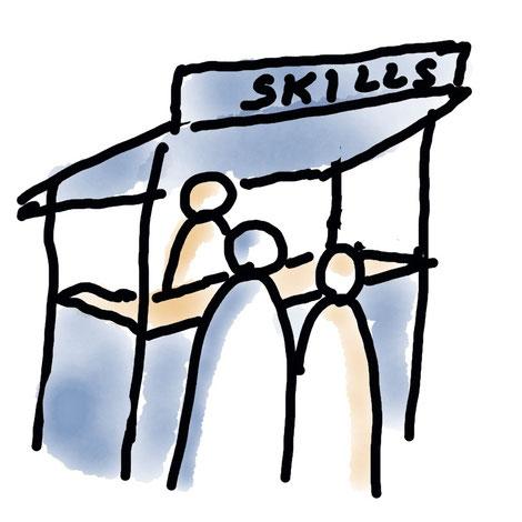 """Sketchnote: Menschen an einem Marktstand mit der Aufschrift """"Skills"""""""