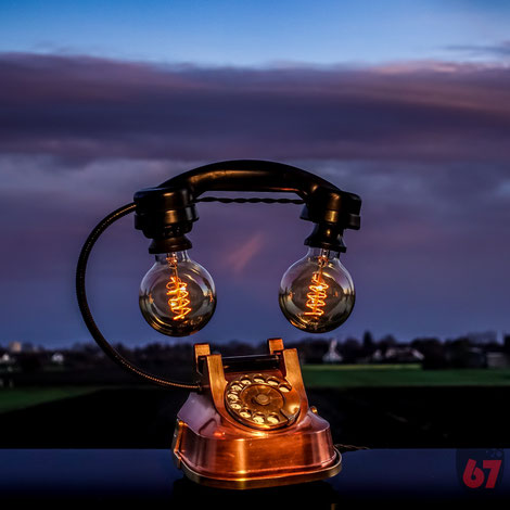 Upcycling DIY Edison lamp steampunk antique copper telephone ATEA RTT 50 / 56 by Jürgen Klöck