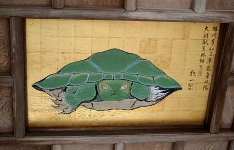 Happo Nirami no Kame la torutue géante au plafond de l'oratoire de Okutsumiya