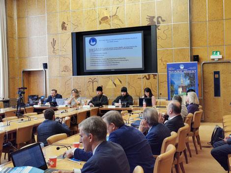 Представители УПЦ на одном из ивентов НПО в штаб-квартире ООН Женеве, 2019 г.