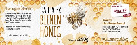 Die neue Etikette für Kärntner Honige: Einheitliches Design mit regionalen Bezug