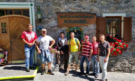 Krönender Abschluss des Wanderstammtisches war die Buschenschänke Mühlbacher in Feistritz/Maltatal bei Most und Jause