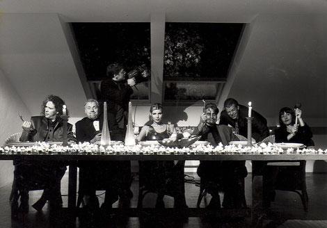 1997 Einzug ins KaHouse: v.l.n.r.: Frank, GAX, Hajö, Andrea, Lothar, Axxl, Waltraut