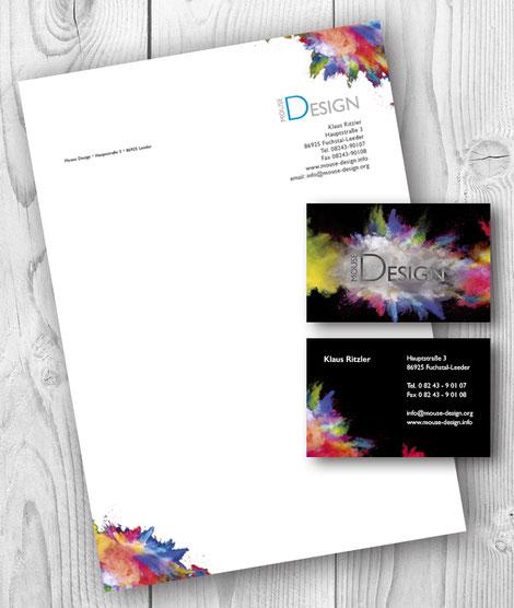 Briefpapier Visitenkarten Mousetests Webseite