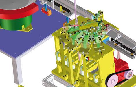 3D Ansicht eines Montageautomaten mit Zuführung und Montageeinheit.