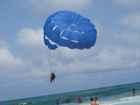 One of the parachutes on the beach of our hotel