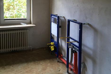 Die Umbauarbeiten der Physiotherapie Sabrina Wulf haben begonnen: Sanitärarbeiten wurden durchgeführt...