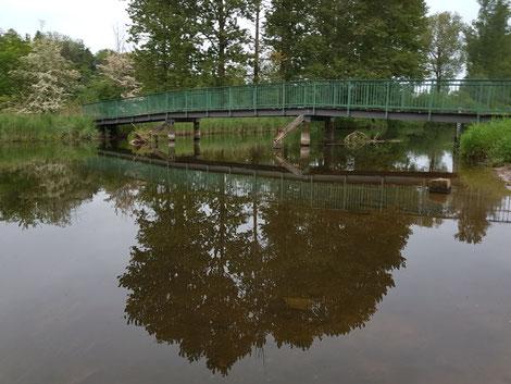 Die grüne Brücke über stillem Wasser