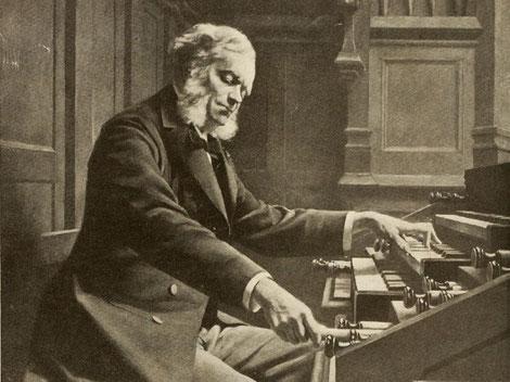 César Franck an seinem Lieblingsinstrument, der Orgel. Zeichnung: Jeanne Rongier