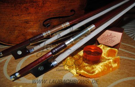 Laubach Silber Meister Bögen für Violine, Viola und Cello