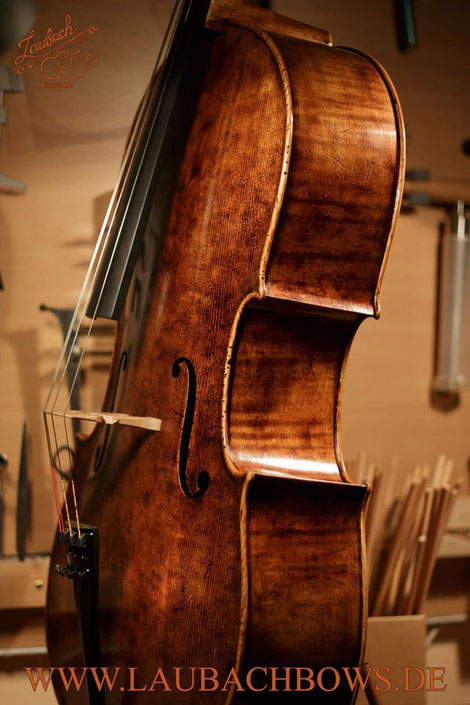 Laubach master cello antique varnished in old Italian style, model Domenico Montagnana 168C 4/4