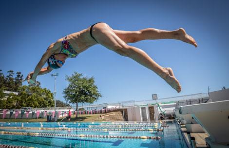Tanja beim Schwimmtraining in Stellenbosch (Südafrika) 2020