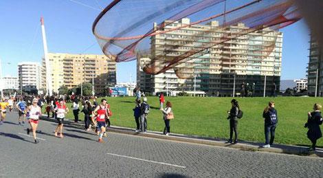 Philipp Meixner beim Marathon in Porto (Bildmitte mit rotem shirt, Foto z.V.g.)