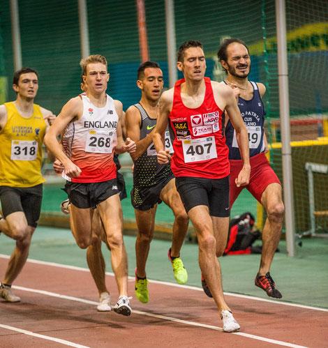 Andreas Vojta auf dem Weg zum Hallen-EM Limit, wobei er 100m vor dem Ziel sogar in Führung lag.