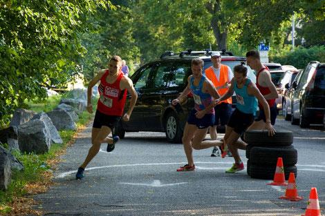 """Andreas Vojta beim Wendepunkt des Rennens """"The Mile"""" gestern in Wiener Neustadt (Foto: Veranstalter)"""