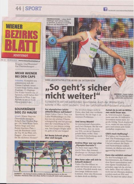 """Interview mit Ralph Vallon in der aktuellen Ausgabe des """"Bezirksblattes"""" in Wien, das an alle Wiener Haushalte gratis verschickt wird."""