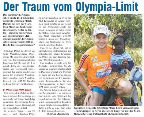 Mit Olympischen Spielen wurde es zwar nichts, aber Christian Pflügl kann trotzdem auf eine erfolgreiche und schöne Zeit im Leistungssport zurückblicken.