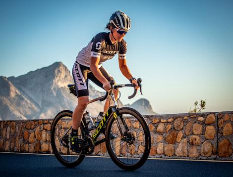 Tanja beim Radtraining in Südafrika im März 2020