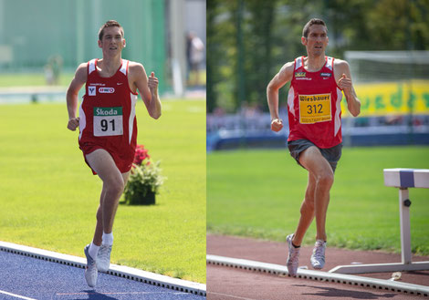 Andreas Vojta beim ersten 1500m Staatsmeistertitel in Linz 2009 und heute beim 10. Titel in der Südstadt