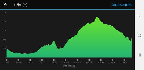 Das Höhenprofil des Athen-Marathons, aufgezeichnet von Lukas MAX (zVg)