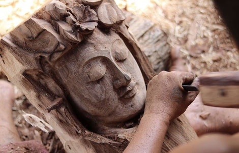 buddha, unikat, handmade, skulptur für garten, Gartenskulptur, wohnraumdekoration, trend, geschenk